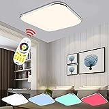 Hengda® LED Deckenleuchte RGB Mit Fernbedienung Lichtfarbe und Helligkeit einstellbar Moderne Esszimmer Deckenbeleuchtung Badezimmer geeignet [Energieklasse A++] (64W RGB)