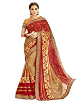 This Product has Shangrila Gold & Red Colour Georgette Embrodered Saree With Blouse Piece, Saree Length 5.5 Meter And Blouse Piece 0.80 Meter.