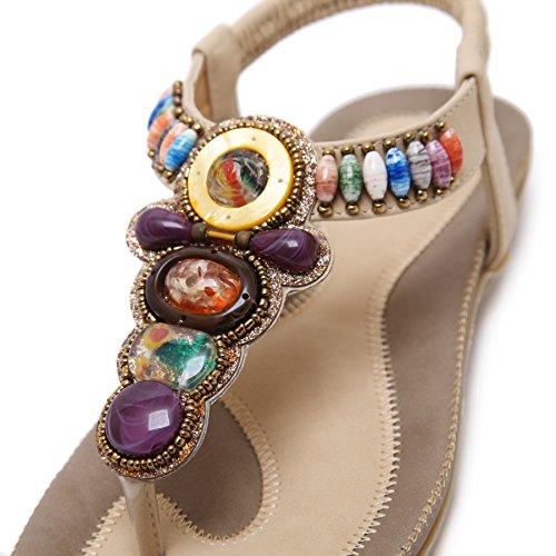 BIGTREE Femmes Tongs Sandales Plage Bohème Multicolore Perles Confortable Semelle Souple Élastique Plat Sandales Beige