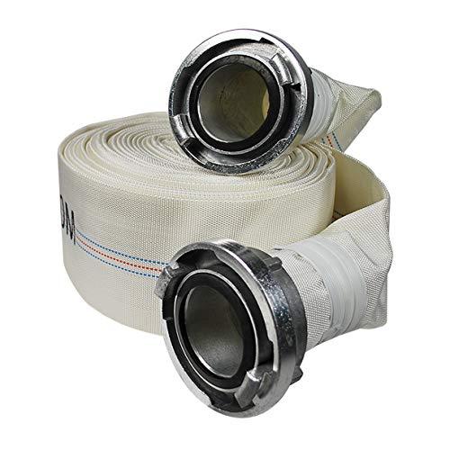 Helo 15 m Feuerwehrschlauch 3 Zoll mit (Typ B) Storz Kupplung aus Aluminium, Bauschlauch wetterfest außen aus robustem Polyester Gewebe, Innen: PVC, geeignet für bis zu 10 bar Wasserdruck