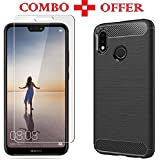 Azzil [Combo Offer Black Hybrid-5.84 inch] Premium Quality Tempered Glass Matte Finish Soft Silicon Perfect Fit Case for Huawei P20 Lite