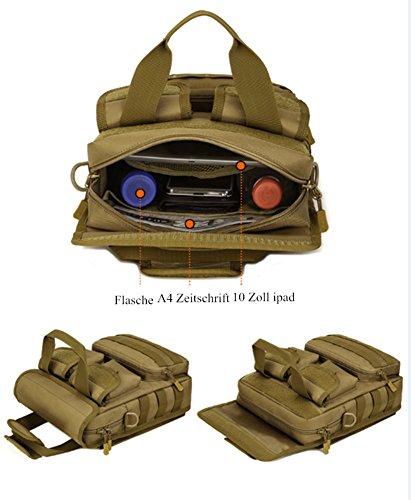 YAAGLE Outdoor militärisch Gepäck Damen und Herren Unisex multifunktional Schultertasche Armee Fans Tarnung Umhängetasche wasserdicht Handtasche Reisetasche-schwarz braun