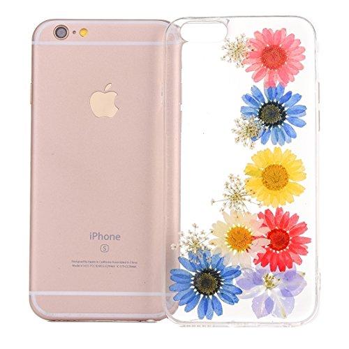 MXNET Case für iPhone 6 & 6s Epoxy Dripping gepresste echte getrocknete Blume weiche transparente TPU Schutzhülle ,Iphone 6/6s Case ( SKU : Ip6g2996a ) Ip6g2996j