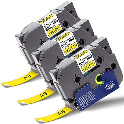 P-touch Tz Tape 24mm x 8m TZe-FX651 Flexible ID Black on Yellow, Compatible for Brother TZeFX651 Cassette for Brother PT-E500VP PT-P900W PT-P950NW PT-D600 PT-P750W Label Maker, Labelwell Supplies