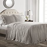 Lush Decor Ruffle Skirt 2 Piece Bedspread Set, Twin, Gray