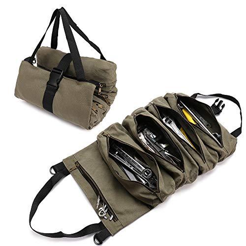 QCWN Sac à outils en toile avec 5 poches zippées pour les professionnels, Vert militaire