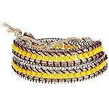 Morella Damen Wickelarmband mit Metallkettchen - gelb