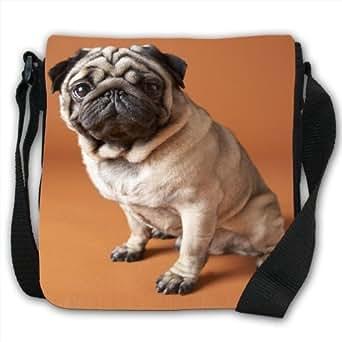 Cute Pug Dog Sitting Small Black Canvas Shoulder Bag / Handbag