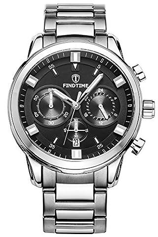 Findtime Hommes Montre Chronographe Luxe Classique Lumineux Acier Inoxydable Cuir Montre Bracelet à Quartz