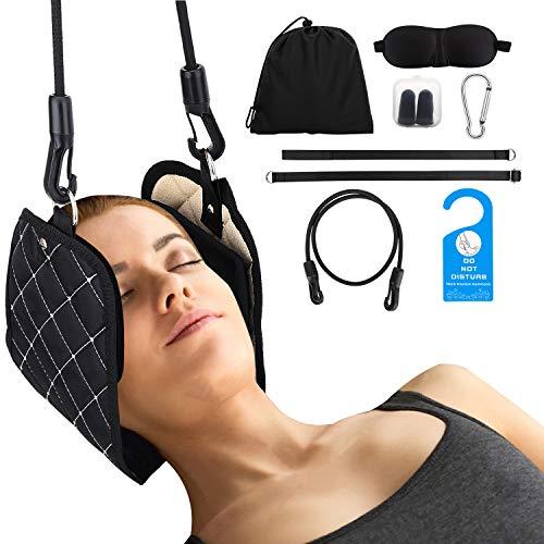 MoKo Almohada para Cuello Masaje para Cabeza, Dispositivo Portátil de Estiramiento de Tracción Cervical...