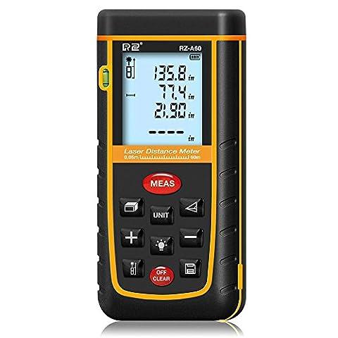60M / 196ft Laser Mesure Meter, Senhai Handheld Distance / Zone / Volume Télémètre outil avec un niveau à bulle pour Home Installation, Bâtiment inspecteur-100 Stockage de données
