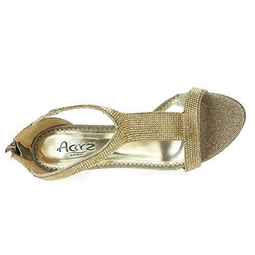 Femmes Dames Cristal Diamante Soir Mariage Fête De mariée Bal de promo Milieu Talon haut Des sandales Chaussures Taille Marron