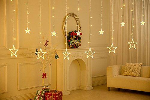 nen Lichterkette, Sternenvorhang, Lichter vorhang,String licht, 12sterne, warme weiße , erweiterbar (Vorhang-lichter)