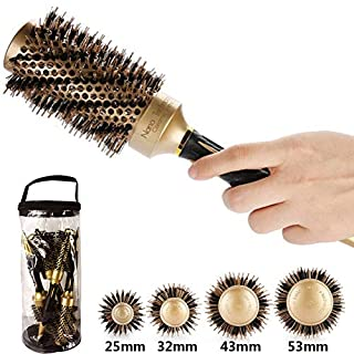 Aozzy Round Hair Brush for Blow Drying Professional Thermal Nano Ceramic Lonic Barrel Hair Styling Curling Women Boar Bristle Hairbrush Round Set