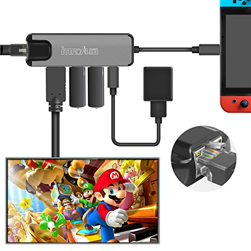 Nintendo Switch Typ C Hub Multistecker Adapter - innoAura USB C Dock Station mit 4K HDMI Konverter, USB-C PD Ladeport, Gigabit Ethernet, 2 USB 3.0 Ports für Nintendo Switch, Arbeit als Nintendo Switch Dock