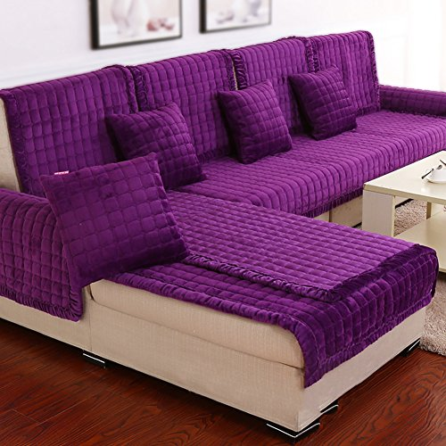 DW&HX Divano mobili Protector, Cotone Tessuto Antiscivolo Divano Cuscino Moderno Semplice Fodera per Divano a Quattro Stagioni -Mencione El Color Púrpura 43x71inch(110x180cm)