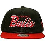 Mitchell & Ness-Gorra con visera plana para hombre Chicago Bulls Cord Script-Black
