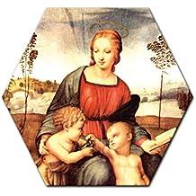 """Bilderdepot24 Cuadros en Lienzo Raffael - Viejos Maestros """"Madonna del cardellino"""" 6-angular 60 cm - listo tensa, directamente desde el fabricante"""