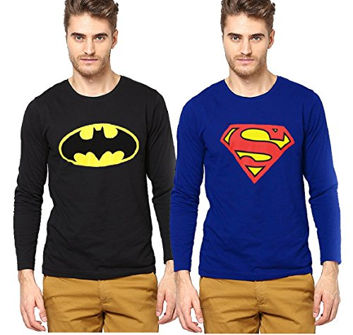 Smartees Men's Blue and Black Color Printed Full Sleeve Tshirt Combo Pack of 2