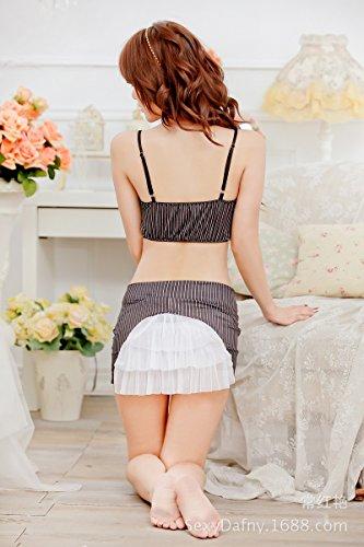 SUNZHEN sexy lingerie Segretario stripe con garza sexy avvolto,come (Garza Shirt Dress)
