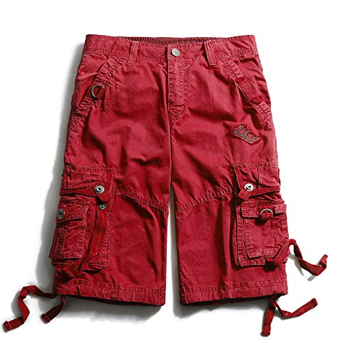 mens-cotton-loose-fit-multi-pocket-cargo-shorts-3233-red-44