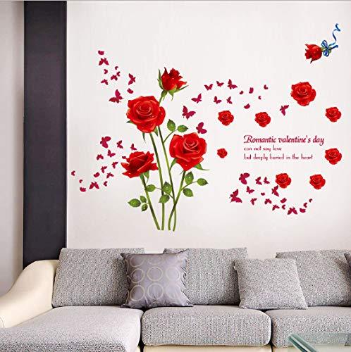 TOYP Rose Blume Schlafzimmer Wohnzimmer Selbstklebende Entfernbare Wandaufkleber Umweltfreundliche Vinyl Aufkleber Decor Kunstwand Poster