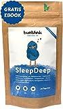 """""""SleepDeep"""" Abendtee, Einschlaf- und Durchschlaftee, Beruhigungstee aus 10 Heilpflanzen zB Baldrian + Reishi, 100% natürliche Kräuterteemischung, 30-Tage-Kur - 60g, Made in Germany by Buntfink"""