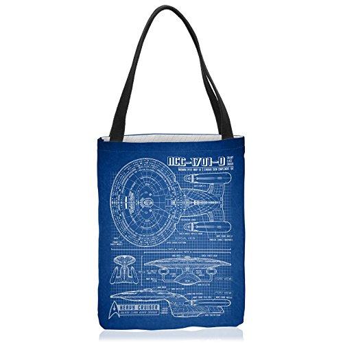 VOID NCC-1701-D Blaupause Tasche Einkaufs-Beutel Polyester Shopper Einkaufs-Tasche Bag Trek Trekkie Star, Polyestertasche Größe:Large Trek Messenger
