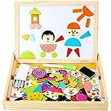 Peradix Magnetische Puzzle Spiele Lernspiel Tafel aus Holz beideseitige Schreibtafel für Kinder ab 3 Jahre