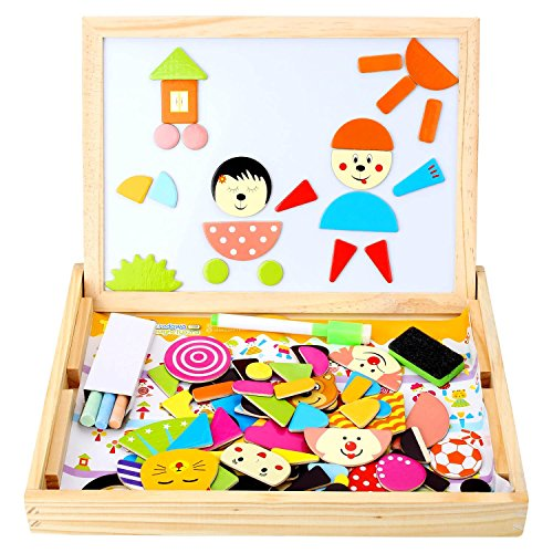 Peradix Magnetisches Holzpuzzle Magnetische Puzzle Spiele Lernspiel Tafel aus Holz Doppelseitige Hölzerne Magnettafel Schreibtafel für Kinder ab 3 Jahre