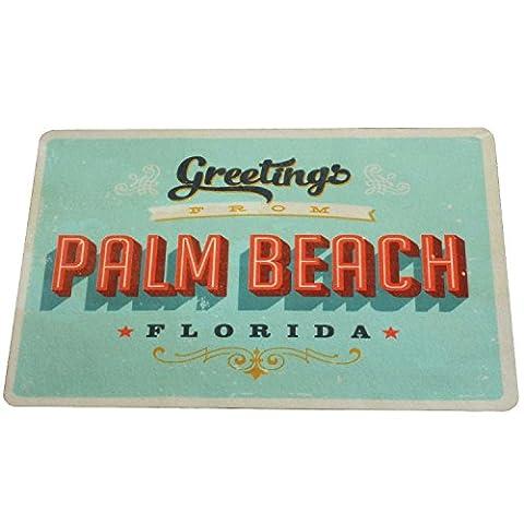 Vintage Badematte Badteppich Bad-Vorleger SCHNELL TROCKNEND 60x40 cm Anti-Rutsch | Extra dünn Retro USA Diner Palm Beach