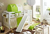 Ticaa Hochbett mit Rutsche Podestbett Tino Buche Weiß Classic, teilbar mit Farbauswahl