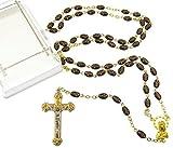 Schönen gold Ton Schwarzglas-Rosenkranz mit Kreuz-Impressum und Geschenk-box