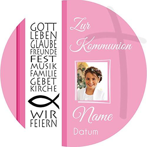 Tortenaufleger Kommunion2 rosa mit Wunschtext / 20 cm Ø