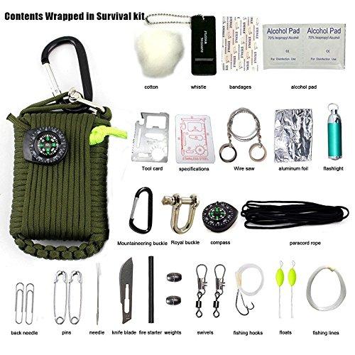 ecosway mutifunction Notfalltasche Survival-Kits, 30in 1Erste Hilfe Survival-Werkzeug Sets Outdoor Gear für Reisen Wandern Radfahren Klettern Jagd, Fire Starter, Notfall Pfeife, Kompass und mehr, grün