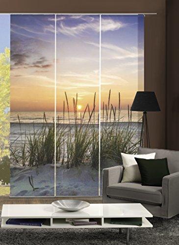 Home Fashion Digitaldruck Schiebevorhang 3er Set Stoff Natur 245 x 60 x 245 cm 3-Einheiten