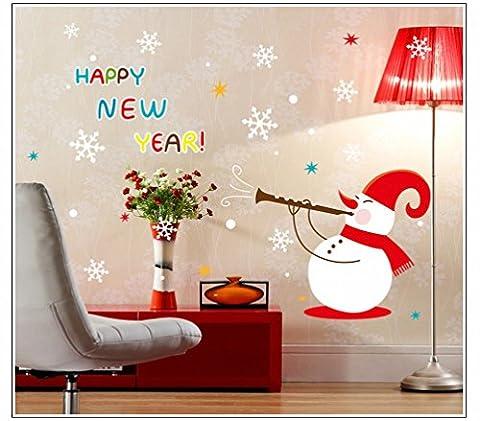 Weihnachten Neujahr Schneemann Wandaufkleber (Abnehmbar, Wasserdicht, Grün) für Wohnzimmer Schlafzimmer Büro Schlafsaal Hintergrund,Zahl