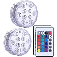 Luces LED sumergibles, ROMER Led luces IR Remote Controlled 10-LED RGB Batería impermeable (incluido) luces de alimentación para acuario, base de jarrón, estanque, jardín, fiesta, Navidad,