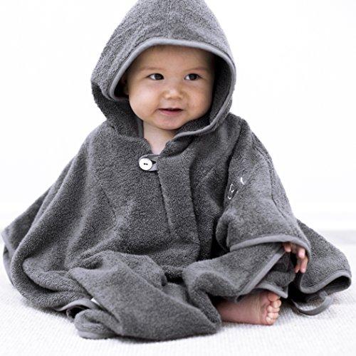 Jungen Kostüm Twin - Mabyen Baby Poncho - Babybademantel Kapuzenbademantel Badehandtuch 100% Baumwolle Grau & Hellgrau Bekannt Aus