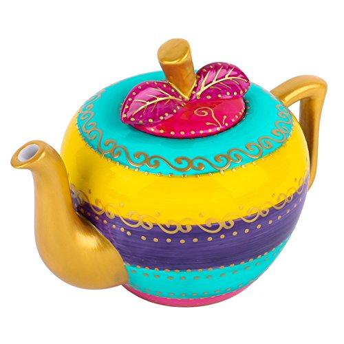 Artvigor, Porzellan Kaffee Tee Kanne, 1 Liter, Apfel Design, Tischdeko, Geschenk