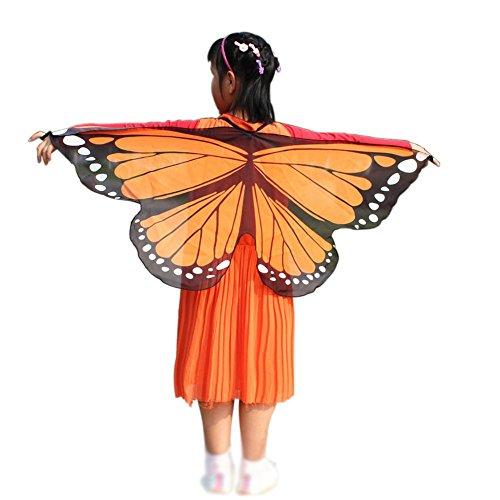Wingbind Bunte Schmetterlingsflügel, Schal Kinder Jungen Mädchen Kostüm Cosplay Party Cape Umhang Zubehör