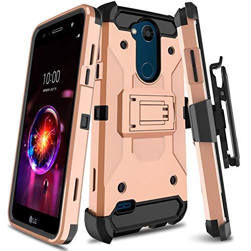 e für LG X Power 3 Serie, robust, mit drehbarem Gürtelclip und Ständer, für LG Fiesta LTE/LG LV7 / LG K10 Power/LG X Charge, Rose ()