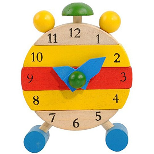 2018 Honestyi Matschig Spielzeug,Handgemachte hölzerne Uhr Spielwaren für Kinder Lernen Zeit Uhr pädagogische Spielwaren