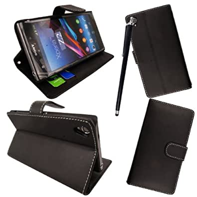 GSDSTYLEYOURMOBILE {TM} SONY XPERIA Z2 VARIOUS PU LEATHER MAGNETIC FLIP CASE COVER POUCH + STYLUS (Black Book)