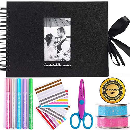 Inicia Álbum de Fotos para álbumes de Recortes, 80 páginas, Kit con 5 bolígrafos metálicos, Tijeras...