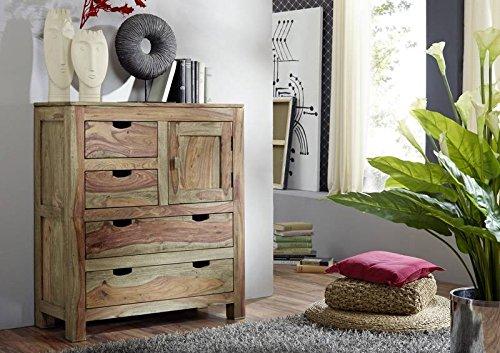 MASSIVMOEBEL24.DE Sheesham Massivholz Highboard Palisander Möbel Holz massiv Nature Grey #87
