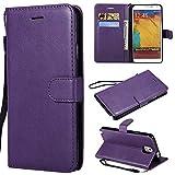 BONROY Samsung Galaxy Note 3 Hülle,Handyhülle Samsung Galaxy Note 3 Tasche Leder Flip Case Brieftasche Etui Schutzhülle für Samsung Galaxy Note 3-(KT-einfarbig-lila)