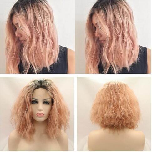 Nouvelle arrivée Peach Ombre bouclés ondulés perruque avec racines foncées Naturel Corail Curl Cheveux courts Bob synthétique Lace Front Perruque résistant à la chaleur Fibre