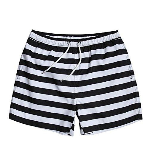 HYHAN Strandhosen Sommer neue Art und Weise Streifen wasserdicht schnell trocknend lose Taille vier Shorts (mit Futter) black and white stripes