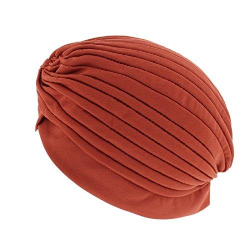 Zac's Alter Ego ® à plis Vintage Turban pour Chimio ou perte de cheveux de mode Marron - Peau